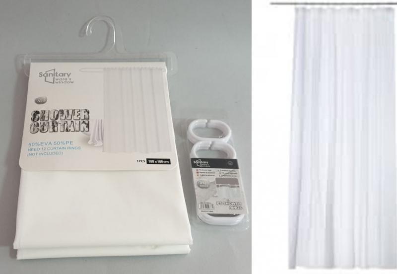 Zavjesa za tuš kadu  Sanitary ware's window  180x180cm  bijela  CH6295
