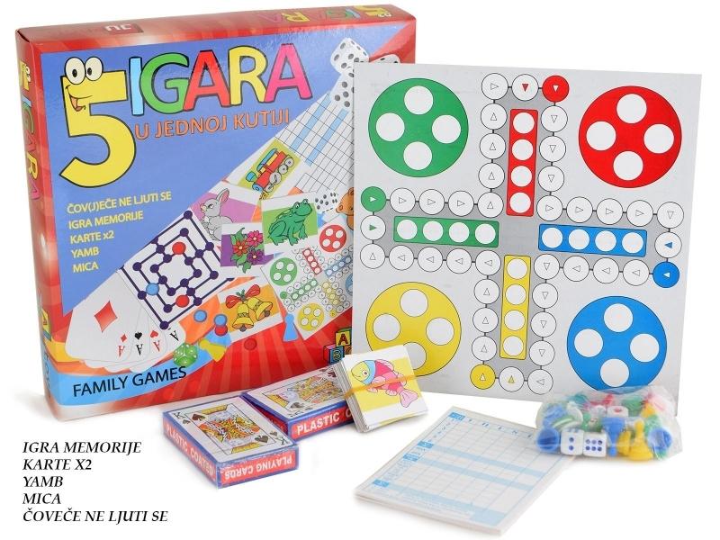 Društvene  igre  set od 5 igara  26x26x5cm  JU39499