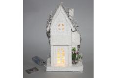 Kućica Božićna dekoracija, svjetleća na baterije 29x16x10cm   CH53264