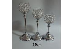 Svijećnjak metalni srebrni 29x12,5cm CH6814