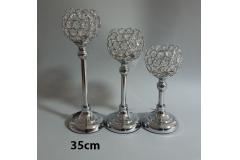 Svijećnjak metalni srebrni 35x12,5cm CH6816