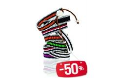 Narukvica pletena sa metalnim rubovima ,mix boje CH7461  -50%