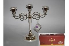 Svijećnjak stolni metalni ,3  svijeće srebrni   26x27cm CH9340