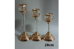 Svijećnjak metalni zlatni 28x12,5cm CH6818