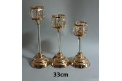 Svijećnjak metalni zlatni 33x12,5cm CH6819